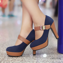 LAIGZEM Super Women Mary Jane Heels Buckle Strap Thick Heel Pumps FASHION Shoes Woman Chaussure Sapato Feminino Big Size 4-10.5 2017 new arrival top medium b m plus size ladies shoes women high heel pumps sapato feminino summer style chaussure femme 8816