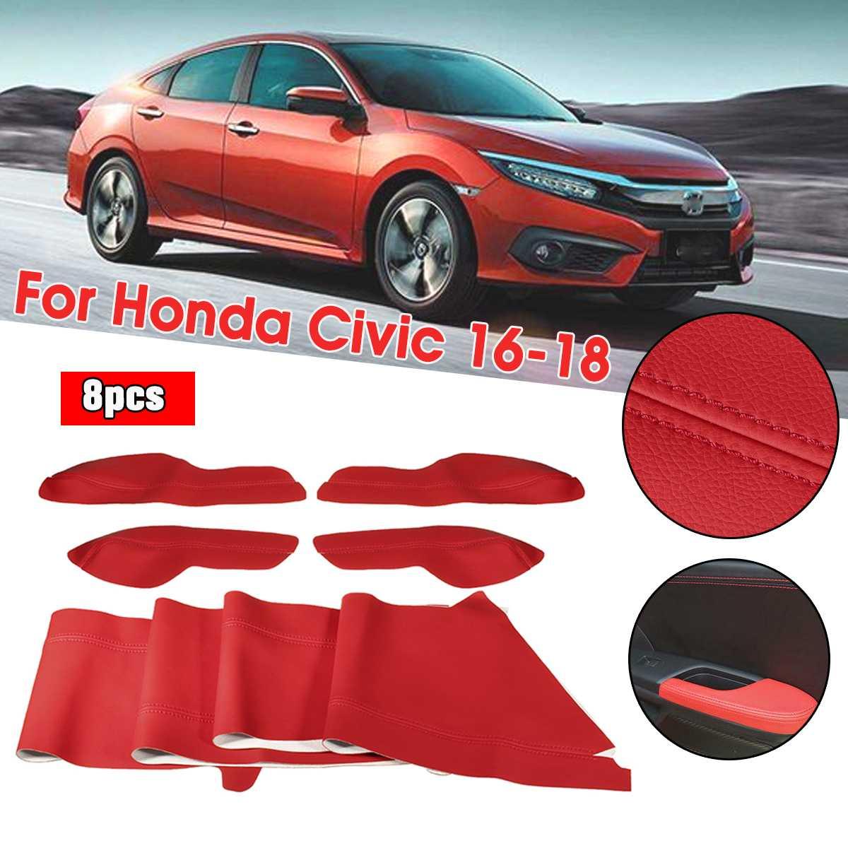 1 set panneau de porte de voiture accoudoir Surface coque garniture protéger voiture style accessoires pour Honda pour Civic 2016 2017 2018