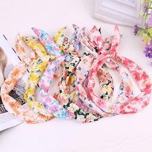 New Floral Stripe Headbands Dot Print Cute Rabbit Ear Ribbon Hairband Metal Wire Scarf Bow Headband 30 Color Girls Headwear