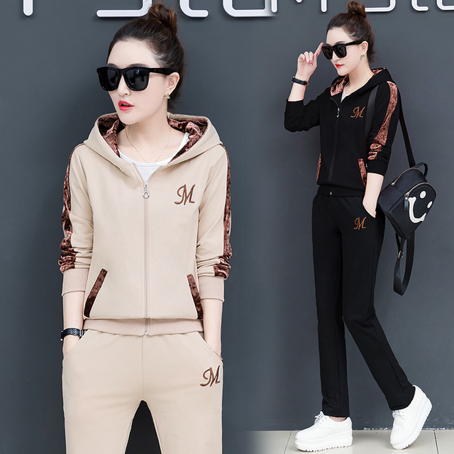 الإناث هوديي 3 قطعة مجموعة النساء مجموعة ملابس دعوى سراويل أنيقة مجموعة رياضية كوريا حجم كبير صالة ارتداء الخريف الملابس 2020