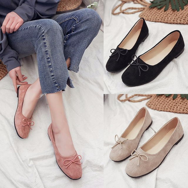 ca8e311a7 Women Flats Square Toe Slip on Flat Shoes Bow Fallet Flats Ladies Shoes  Loafers Faux Suede Boat Shoes Zapatos Mujer855