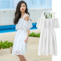 Dress For Girles 5 To 6 Years 12 To 14 Years White 2019 Teenage Princess Dresses Girl Summer Style Knee Length Children Clothing