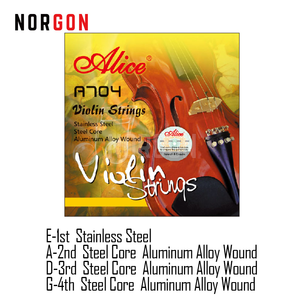 Alice A704 4/4 Violin Strings 10 Sets Nickel Silver Wound Advanced Stainless Steel Core Nickel Plated Ball End Plated SteelAlice A704 4/4 Violin Strings 10 Sets Nickel Silver Wound Advanced Stainless Steel Core Nickel Plated Ball End Plated Steel