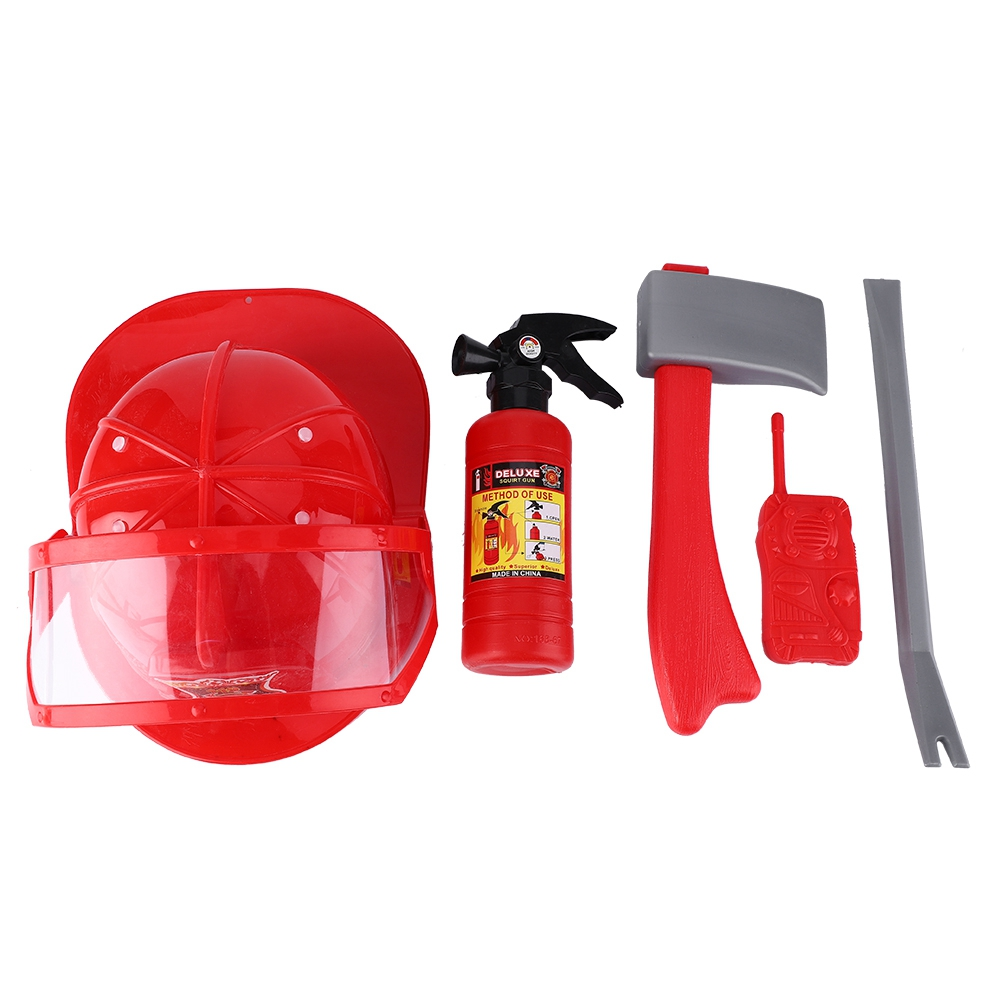 Honey 5pcs Children Firefighter Fireman Cosplay Toys Kit Helmet Fire Extinguisher Intercom Axe Wrench The Best Gifts For Kids Elegant And Sturdy Package