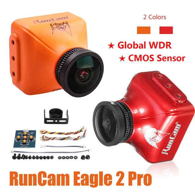 RunCam águila 2 Pro Global WDR OSD Audio 800TVL CMOS FOV 170 grado 16:9/4:3 conmutable FPV Cámara naranja rojo para componentes para drones RC