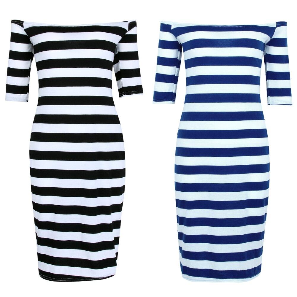 2018 для женщин летнее платье пикантные с открытыми плечами по колено случайный Полосатая Короткий рукав Bodycon тонкий карандаш Vestidos