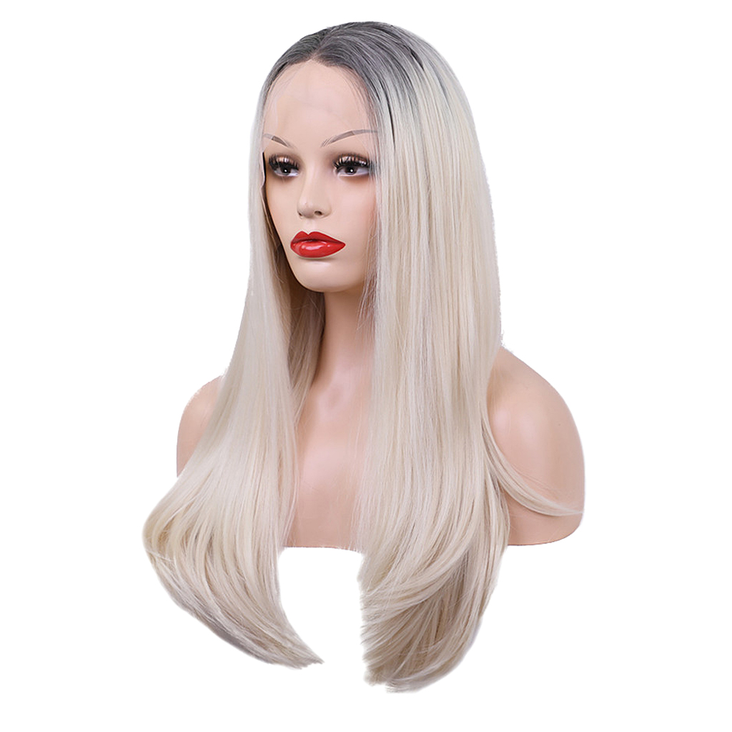 27 inch Natural Looking Long Straight Lace Front Wigs for White Women Synthetic Wig