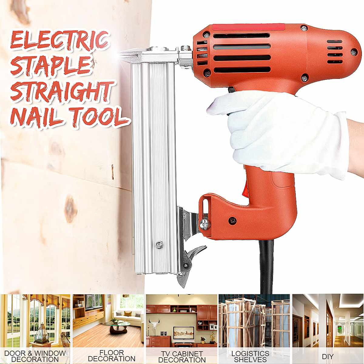 10 30mm Straight Nail Staple Guns 220V 1800W Electric Nailer Woodworking Tool Light Weight Portable 60/min Firing Speed Rate