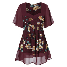 New Plus Size Women Long Tunic Shirt Summer Flare Sleeve Floral Print Sweetheart Neck Blouses And Tops Sexy Retro Chiffon Blouse plus size flare sleeve handkerchief tunic top