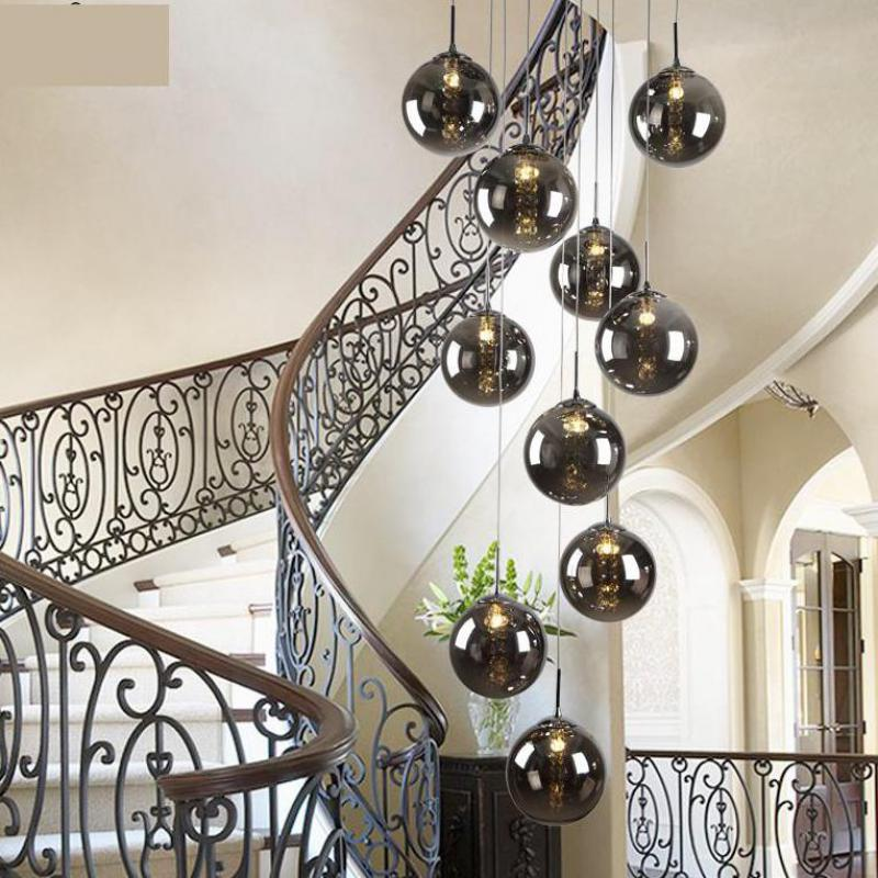 1.5-2M Staircase smoke black spiral pendant lamps Modern Rotating stair Double Floor Long glass ball Pendant lights Pendientes