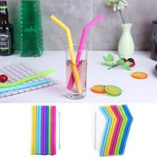 Baby Large Diameter Foldable Food Grade Children Silicone Drink Straw Reusable Color Healthy Beverage Flexible Straw Brush Set(China)