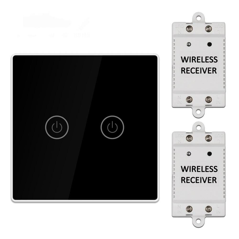 KCASA 1/2/3 Gang AC200-240V Sans Fil Interrupteur Tactile avec 2 pièces Kit Récepteur Télécommande Contrôle De La Maison Intelligente Module