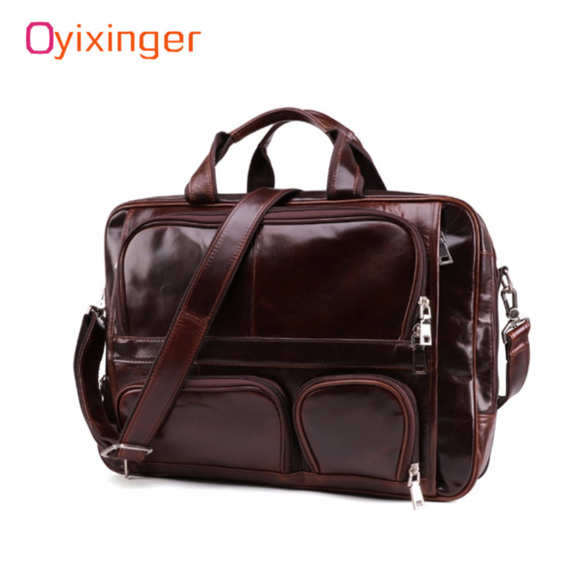 Classic Men's Briefcase Bags Tote Business Men Bags Travel Laptop Bag For Male Files 100% Genuine Leather Briefcases Office Work