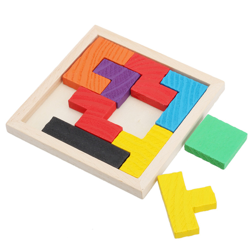 Montessori Wooden Toys For Children Tangram Brain Teaser Puzzle Tetris Game Educational Baby Kid Gift Educational 3D Puzzles