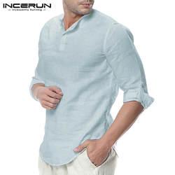 INCERUN модные мужские рубашки с длинным рукавом Хлопок Однотонная повседневная обувь Базовая рубашка Для мужчин топы для отдыха пуловеры для