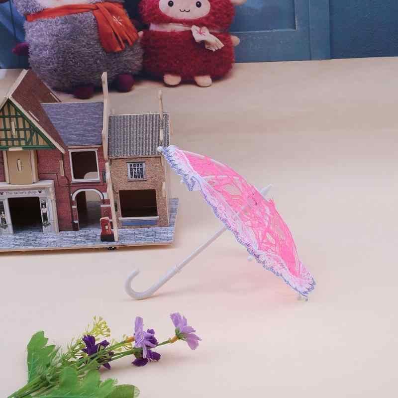 Mini Spitze Regenschirm Sonnenschirm Regenschirm Puppe Zubehör Puppe 1pc Kunststoff Spitze Regenschirm für Puppen Mädchen Geburtstag Weihnachten Geschenk