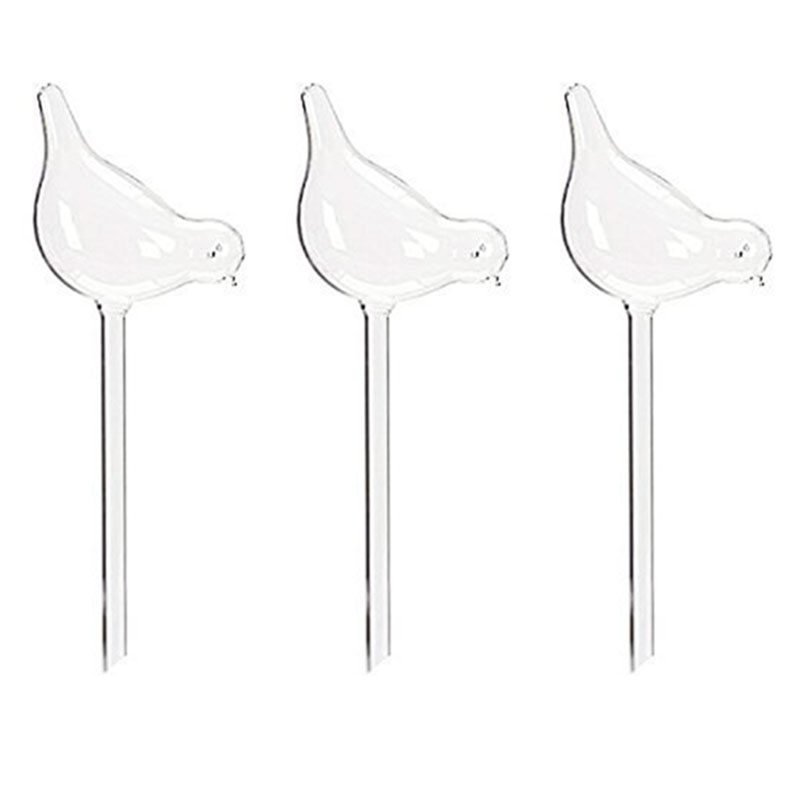 3 Pack Plant Waterer Self Watering Globes  Bird Shape Hand Blown Clear Glass Aqua Bulbs|Water Cans| |  - title=