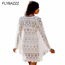 2019 Hot Sexy Beach Cover up Lace Crochet White Swimwear Beach Dress Ladies Bathing Suit Cover ups Beach Tunic Saida de Praia цена