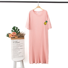 New Fruit Embroidery Short sleeved Sexy Sleepwear Knitted Cotton Pyjamas Leisure Extra large Home Clothes Round Neck Nightgowns