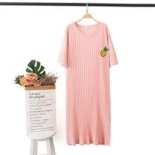 Yeni Meyve Nakış Kısa kollu Seksi Pijama Örme pamuklu pijamalar Eğlence Ekstra büyük Ev Elbise Yuvarlak Boyun Nightgowns
