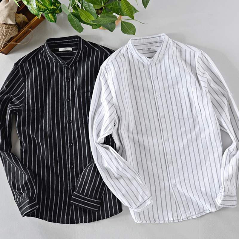 Streetwear Autumn Mens Cotton Shirts Striped Retro Man Tops Long Sleeve Dress Loose Casual Shirts Camisa Chemise Hombre Clothes