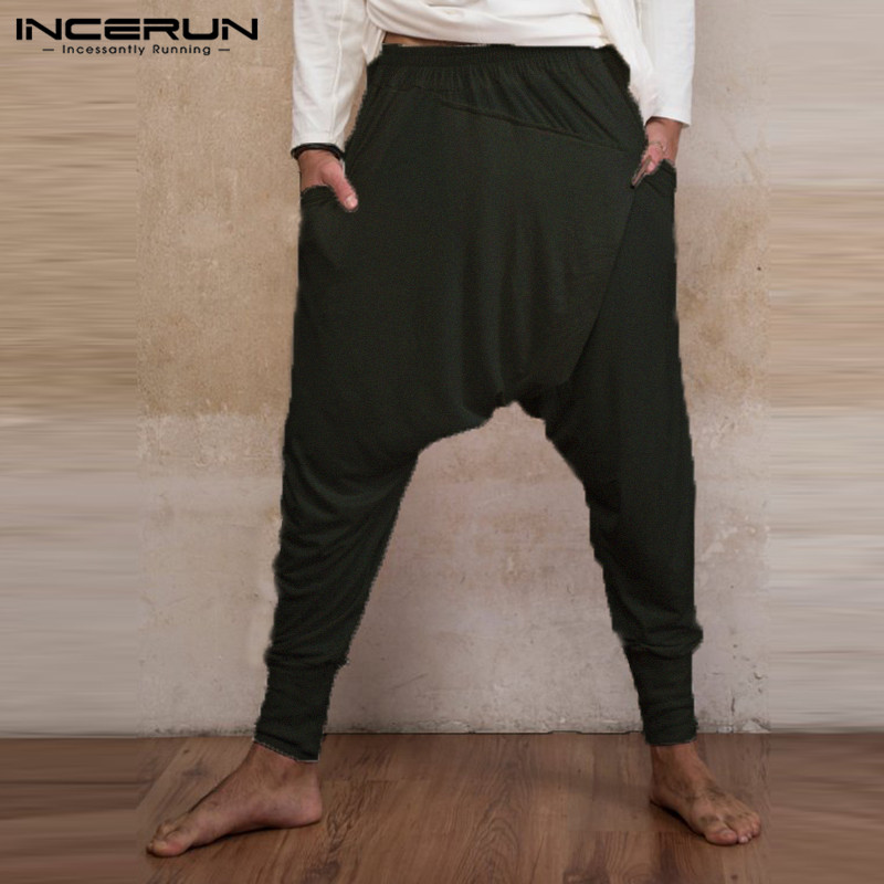 Indian Pants Mens Ninja Pants Baggy Harem Pants Loose Fitness Low Drop Crotch Trousers Dance Fashion Punk Hombre Pantalon