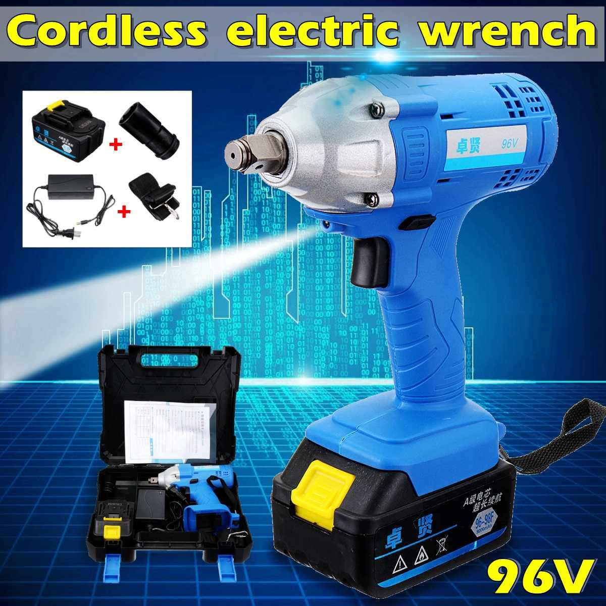 Cordless 9000mAh 2000W Electric Impact Wrench High Torque Chargeable Hammerdrill LED Lighting Hammer Power ToolsCordless 9000mAh 2000W Electric Impact Wrench High Torque Chargeable Hammerdrill LED Lighting Hammer Power Tools
