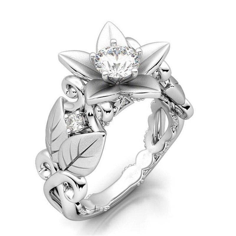 Buy 14K Gold Engagement Flower Diamond Rings Bague Etoile Women's Creative Leaves Anillos De Bizuteria Gem Stone Diamante Rings 2019 for only 14 USD