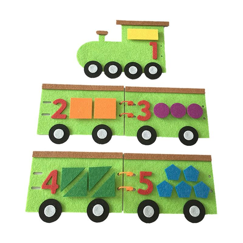 1 Set Kids Felt Non-woven Decor Educational Teaching DIY Mathematics Handmade Cartoon Train And Number Equipment Toys
