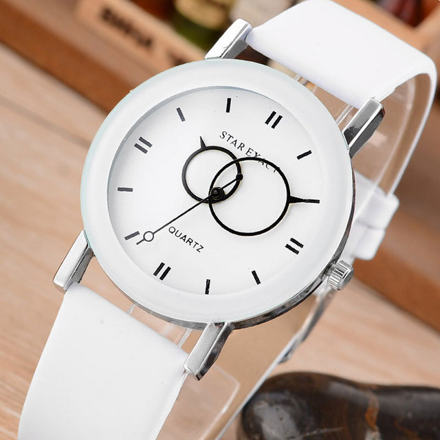 Relojes Mujer New Fashion Creative Clock Simple White Leather Watches Women Dres