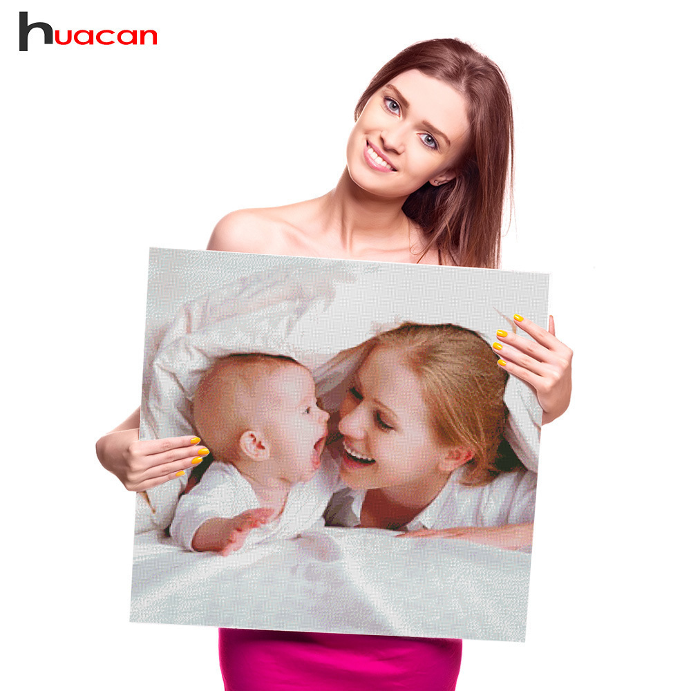 Huacan DIY Photo Diamond izšūšana no dimanta gleznojuma Custom Cross Stitch Full Square dimanta mozaīkas adatas rhinestones