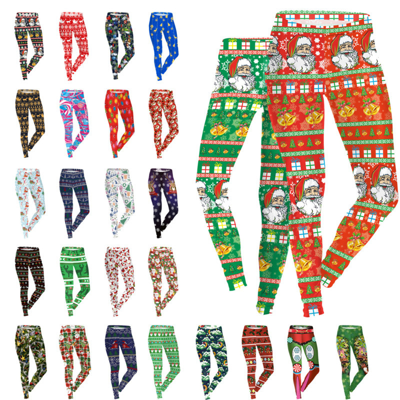 Women Christmas Leggings 3D Pencil Pants Snowflake Elk Tights Elastic Sexy Skinny Slim Low Waist Fitness Trousers 30 Style