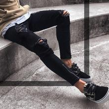 Stretch Destroyed Frayed Slim Fit Denim Pant with Zipper RK