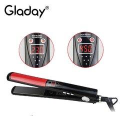 Gladay profesjonalny wyświetlacz LCD prostowanie żelazka narzędzia do stylizacji z profesjonalną prostownicą do włosów płyty tytanowe żelazka