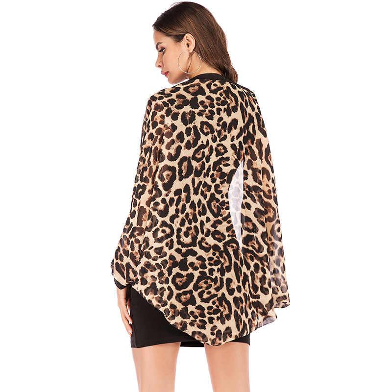 Женская шифоновая блузка, рубашки, женский леопардовый принт, топы, туники, блузка с длинными рукавами и рукавами летучая мышь, длинное кимоно, накидка, летние топы 2019