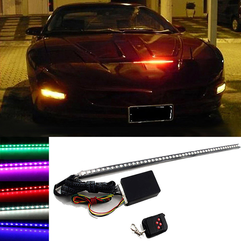 56cm  48LED  RGB Car Scanner Knight Rider Strobe Flash Light Strip+Remote