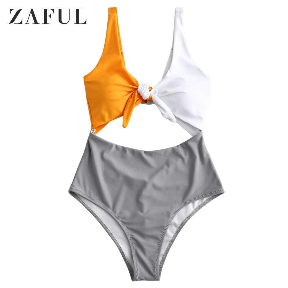 ZAFUL Patchwork kolor kobiety Push Up Bikini Set biustonosz usztywniany brazylijskie Bikini duży XXL kobiet kostiumy kąpielowe Femme Biquini kostiumy kąpielowe