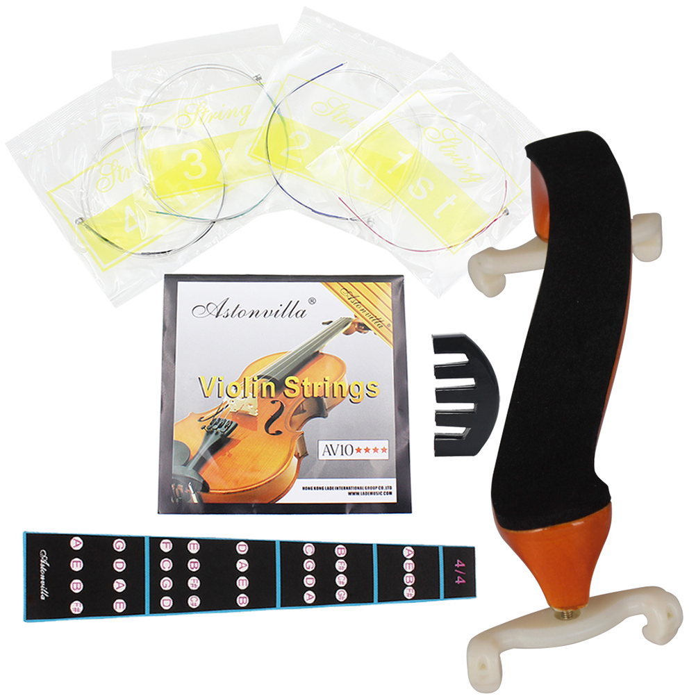 Pack Of 4 Pcs Violin Fingerboard Stickers Av10 Strings Five-claw Mute 4/4 Shoulder Support Kit Set Stringed Instruments