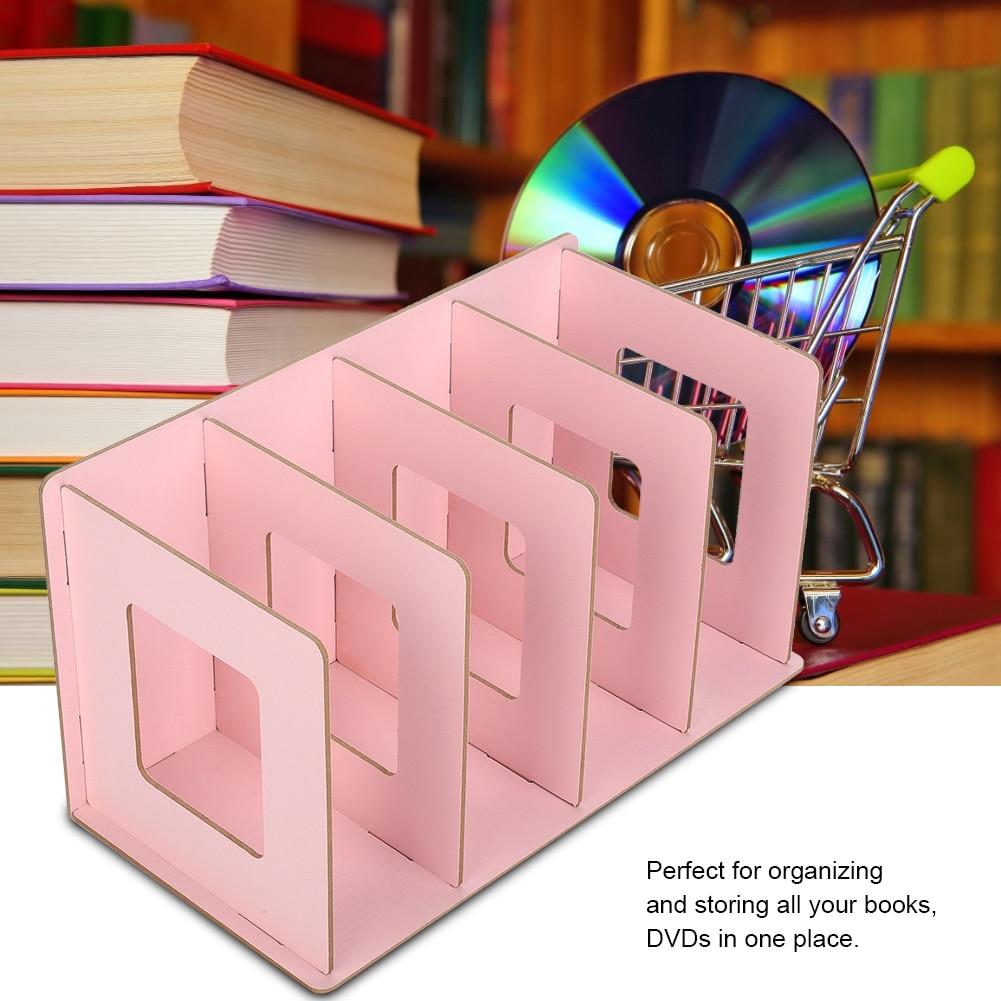 Us 10 52 38 Off Wooden Book Rack Diy Desktop Bookshelf Rack Books Dvd Storage Magazine Holder For Students Kids Adult In Storage Holders Racks