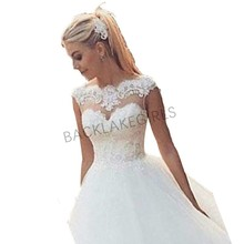 2019 Ball Gown Floor Length Tulle Lace Wedding Dresses