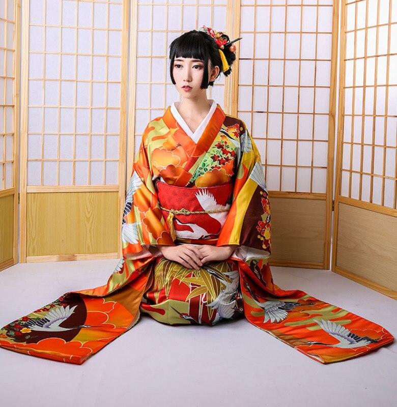 Kimono Nacional Japonés Yukata Con Obi Mujeres Ropa Cosplay