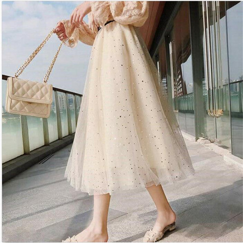 New Women's High Waisted Pleated Mesh Long Maxi Skirts Tulle Prom A-Line Ladies' Sexy Sweet Lace Dot Casual Skirts Hot Selling