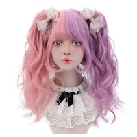 Short Wavy Cosplay Lolita Wigs Synthetic Hair with 2 Claw Ponytail Hair Extension Baby Pink Purple 12'' Bob Wigs Bangs HP L 051