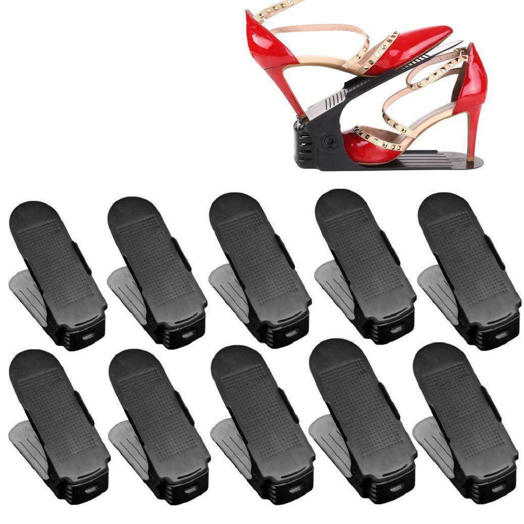 Lot 10 Adjustable Shoe Holder Stack Shoes Organizer Space Saver Shoes Plastic Rack Holder Black