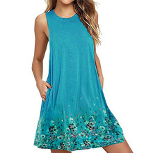 Big Size 6XL Dresses 7Colors Womens Ladies Summer Party Cotton Solid Tops Dress Clothes Plus Vestidos Mujer