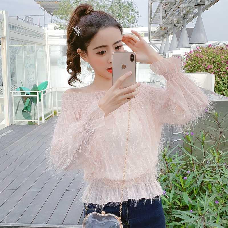 2019 ربيع المرأة أزياء مثير خارج الكتف منظور شرابة قميص الإناث OL تدخين الشيشة كم ذوبان الثلوج يدور بلوزة
