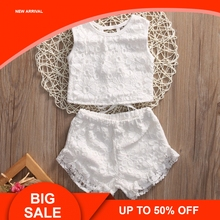 Toddler Baby Girls Clothes Kids Summer Floral Lace Sleeveless Tops Shirt Shorts Outfits Set