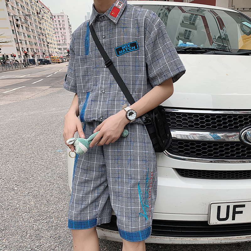 2019 (shirts+shorts) Summer Men's Lattice Printing Short Sleeve Shirt Loose Shorts Suit Sets Tracksuit High-quality Clothes