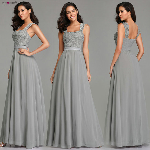 Grey Evening Dresses Long Ever Pretty Elegant A Line Sleeveless Backless Lace Appliques Wedding Guest Dress Party Gown Vestidos