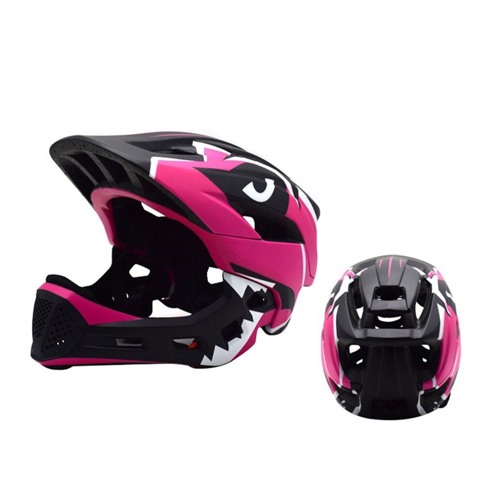 Casque de vélo intégral pour enfants casque de cyclisme sur route de montagne avec protège-menton amovible pour Skateboard Roller Scooter